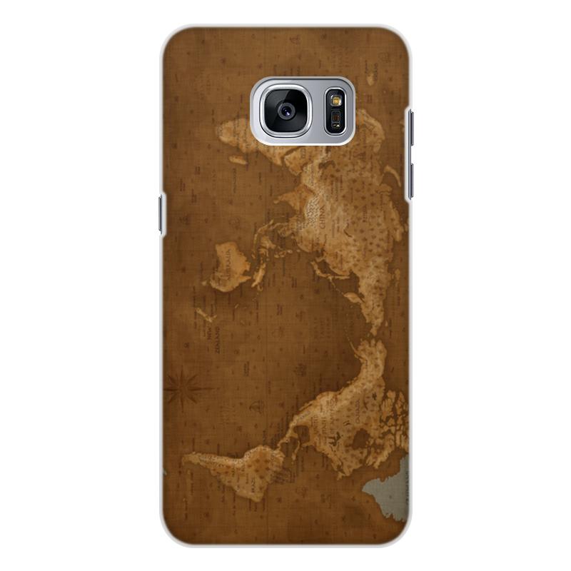 Чехол для Samsung Galaxy S7, объёмная печать Printio Карта мира gold tree design кожа pu флип крышки кошелек карты держатель чехол для samsung s7