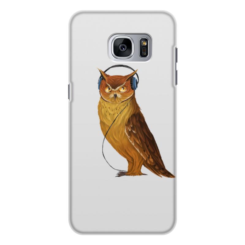 Чехол для Samsung Galaxy S7, объёмная печать Printio Сова в наушниках цена