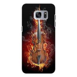 """Чехол для Samsung Galaxy S7, объёмная печать """"МУЗЫКА ФЭНТЕЗИ"""" - стиль, огонь, красота, яркость, скрипка"""