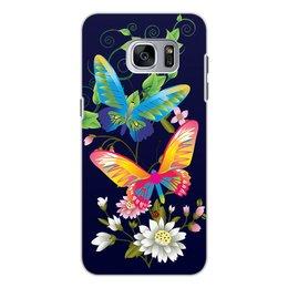"""Чехол для Samsung Galaxy S7, объёмная печать """"БАБОЧКИ ФЭНТЕЗИ"""" - бабочки, стиль, красота, яркость, цветочный узор"""