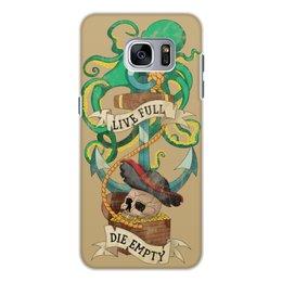 """Чехол для Samsung Galaxy S7, объёмная печать """"Осьминог"""" - череп, якорь, old school, татуировка, пират"""