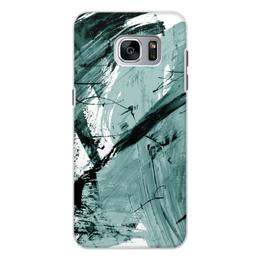 """Чехол для Samsung Galaxy S7, объёмная печать """"волна"""" - голубой, волна, краски, хаос"""