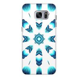 """Чехол для Samsung Galaxy S7, объёмная печать """"Костер Альт"""" - белый, синий, подарок, абстракция, мандала"""