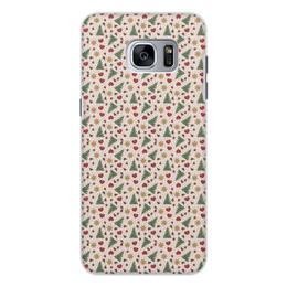 """Чехол для Samsung Galaxy S7, объёмная печать """"Праздник"""" - сердце, звезды, снег, игрушки, елки"""