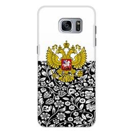 """Чехол для Samsung Galaxy S7, объёмная печать """"Цветы и герб"""" - цветы, россия, герб, орел, хохлома"""