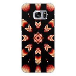 """Чехол для Samsung Galaxy S7, объёмная печать """"Костер"""" - огонь, подарок, абстракция, мандала, красное на черном"""