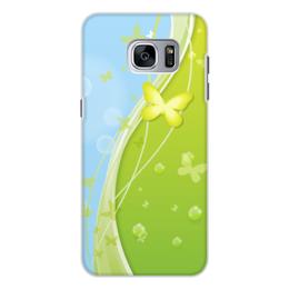 """Чехол для Samsung Galaxy S7, объёмная печать """"Летний мотив"""" - бабочки, лето, небо, трава, мыльные пузыри"""