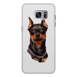 """Чехол для Samsung Galaxy S7, объёмная печать """"Зоркий взгляд"""" - животные, собака, пинчер, собакадруг, черный нос"""