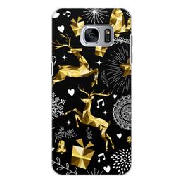 """Чехол для Samsung Galaxy S7, объёмная печать """"Олени"""" - новый год, олени"""