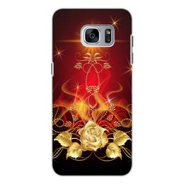 """Чехол для Samsung Galaxy S7, объёмная печать """"Золотая роза"""" - цветок, роза"""