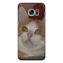 """Чехол для Samsung Galaxy S7, объёмная печать """"Серьезно настроенное животное."""" - кот, котэ, котик, рыжий кот, серьезный кот"""