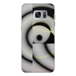 """Чехол для Samsung Galaxy S7, объёмная печать """"Черно-белый спиральный калейдоскоп"""" - черно-белый, оригинальный, круги, калейдоскоп, фантазийный"""