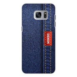 """Чехол для Samsung Galaxy S7, объёмная печать """"Джинсовый арт"""" - абстракция, джинсы, ткань, jeans, denim"""