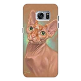 """Чехол для Samsung Galaxy S7, объёмная печать """"КОТ СФИНКС"""" - арт, картина, коты, иллюстрация"""