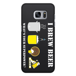 """Чехол для Samsung Galaxy S7, объёмная печать """"Я варю пиво, а в чем твоя суперсила."""" - пиво, пивовар, пивоварение"""
