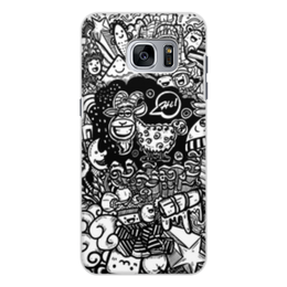 """Чехол для Samsung Galaxy S7, объёмная печать """"Иллюстрация"""" - баран, козел, звезда, ананас, люди"""
