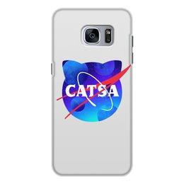 """Чехол для Samsung Galaxy S7, объёмная печать """"Catsa"""" - cat, космос, nasa, наса, catsa"""