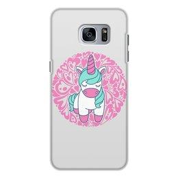 """Чехол для Samsung Galaxy S7, объёмная печать """"Unicorn"""" - сердце, узор, орнамент, розовый, единорог"""