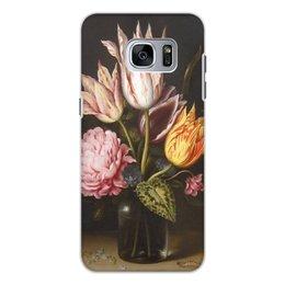"""Чехол для Samsung Galaxy S7, объёмная печать """"Букет из тюльпанов, роз, клевера, и цикламен"""" - цветы, картина, босхарт"""