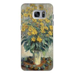 """Чехол для Samsung Galaxy S7, объёмная печать """"Топинамбур (картина Клода Моне)"""" - цветы, картина, импрессионизм, живопись, моне"""