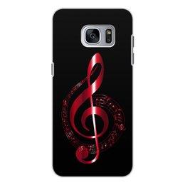 """Чехол для Samsung Galaxy S7, объёмная печать """"МУЗЫКА"""" - скрипичный ключ, нотный знак, стиль эксклюзив креатив красота яркость, арт фэнтези"""