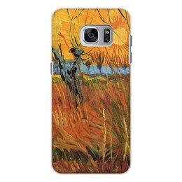 """Чехол для Samsung Galaxy S7, объёмная печать """"Обрезанные ивы и закат (Винсент Ван Гог)"""" - картина, пейзаж, ван гог, живопись, постимпрессионизм"""