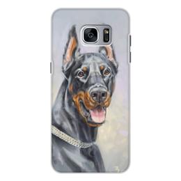 """Чехол для Samsung Galaxy S7, объёмная печать """"ПОРТРЕТ добермана"""" - арт, животные, иллюстрация, собаки"""
