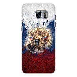 """Чехол для Samsung Galaxy S7, объёмная печать """"Русский Медведь"""" - флаг, триколор, россия, футбол, медведь"""