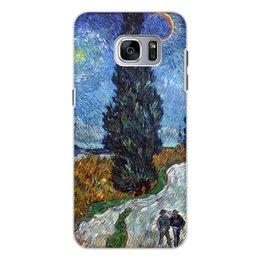 """Чехол для Samsung Galaxy S7, объёмная печать """"Дорога с кипарисом и звездой (Винсент Ван Гог)"""" - картина, ван гог, живопись"""