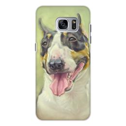 """Чехол для Samsung Galaxy S7, объёмная печать """"СОБАКА бУЛЬТЕРЬЕР"""" - иллюстрация, собаки, буль"""