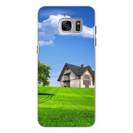 """Чехол для Samsung Galaxy S7, объёмная печать """"Трава у дома"""" - дом, трава"""