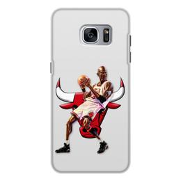"""Чехол для Samsung Galaxy S7, объёмная печать """"Michael Jordan Cartooney"""" - 23, чикаго, бык, chicago bulls, джордан"""