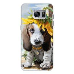 """Чехол для Samsung Galaxy S7, объёмная печать """"Собака"""" - цветок, собака, животное"""