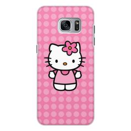 """Чехол для Samsung Galaxy S7, объёмная печать """"Kitty в горошек"""" - мультик, hello kitty, мультфильм, для детей, привет китти"""