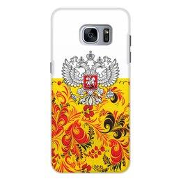 """Чехол для Samsung Galaxy S7, объёмная печать """"Хохлома"""" - цветы, россия, герб, орел, хохлома"""