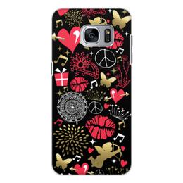 """Чехол для Samsung Galaxy S7, объёмная печать """"Валентинка"""" - сердце, любовь, губы, валентинка"""