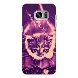 """Чехол для Samsung Galaxy S7, объёмная печать """"Fire cat"""" - кот, животные, яркий, дизайнерский, интересный"""
