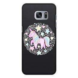 """Чехол для Samsung Galaxy S7, объёмная печать """"Unicorn"""" - узор, голубой, орнамент, розовый, единорог"""