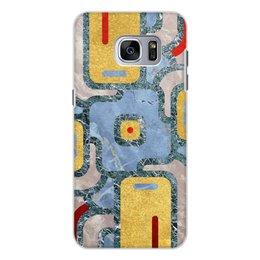 """Чехол для Samsung Galaxy S7, объёмная печать """"Мандала Богатства (Золото и Мрамор)"""" - узор, орнамент, камень, богатство, премиум"""