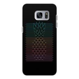 """Чехол для Samsung Galaxy S7, объёмная печать """"Неоновый ананас """" - фрукты, ананас, неон, минимализм, линии"""