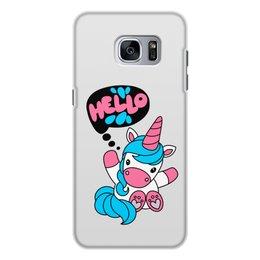 """Чехол для Samsung Galaxy S7, объёмная печать """"Unicorn"""" - привет, надпись, голубой, розовый, единорог"""