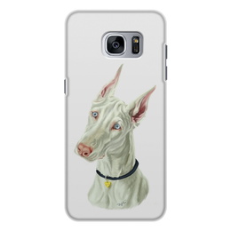 "Чехол для Samsung Galaxy S7, объёмная печать ""Доберман"" - арт, доберман, альбинос"