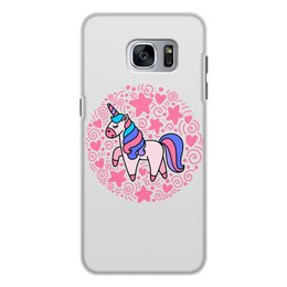 "Чехол для Samsung Galaxy S7, объёмная печать ""Unicorn"" - сердце, узор, звезды, орнамент, единорог"