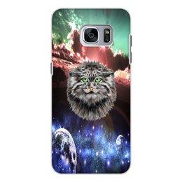 """Чехол для Samsung Galaxy S7, объёмная печать """"Кот в космосе"""" - кот, звезды, котенок, космос, коты в космосе"""