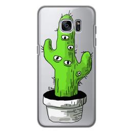 """Чехол для Samsung Galaxy S7, объёмная печать """"кактус"""" - глаза, зеленый, психодел, сюрреализм, кактус"""