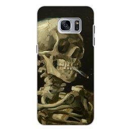 """Чехол для Samsung Galaxy S7, объёмная печать """"Череп с горящей сигаретой (Винсент Ван Гог)"""" - череп, картина, ван гог, живопись"""