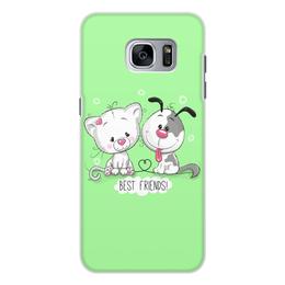 """Чехол для Samsung Galaxy S7, объёмная печать """"Друзья"""" - мультяшки, друзья, рисунок, щенок, котёнок"""