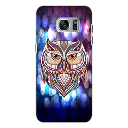 """Чехол для Samsung Galaxy S7, объёмная печать """"Сова в красках"""" - узор, птицы, краски, сова, совы"""