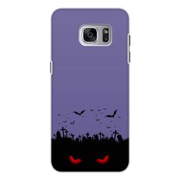 """Чехол для Samsung Galaxy S7, объёмная печать """"Взгляд оттуда"""" - хэллоуин, рисунок, взгляд, летучие мыши, кладбище"""