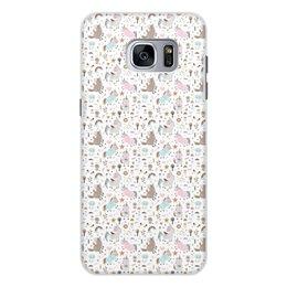 """Чехол для Samsung Galaxy S7, объёмная печать """"Единороги"""" - животные, лошадь, радуга, мульт, единорог"""